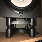 IsoAcoustics ISO-L8R200 Large Studio Monitor Stands - Front shot with monitors